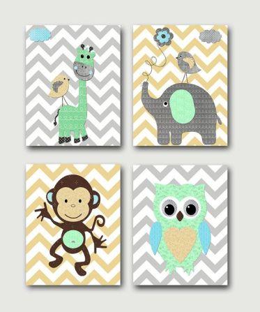 quadro para quarto de bebê animais colagem