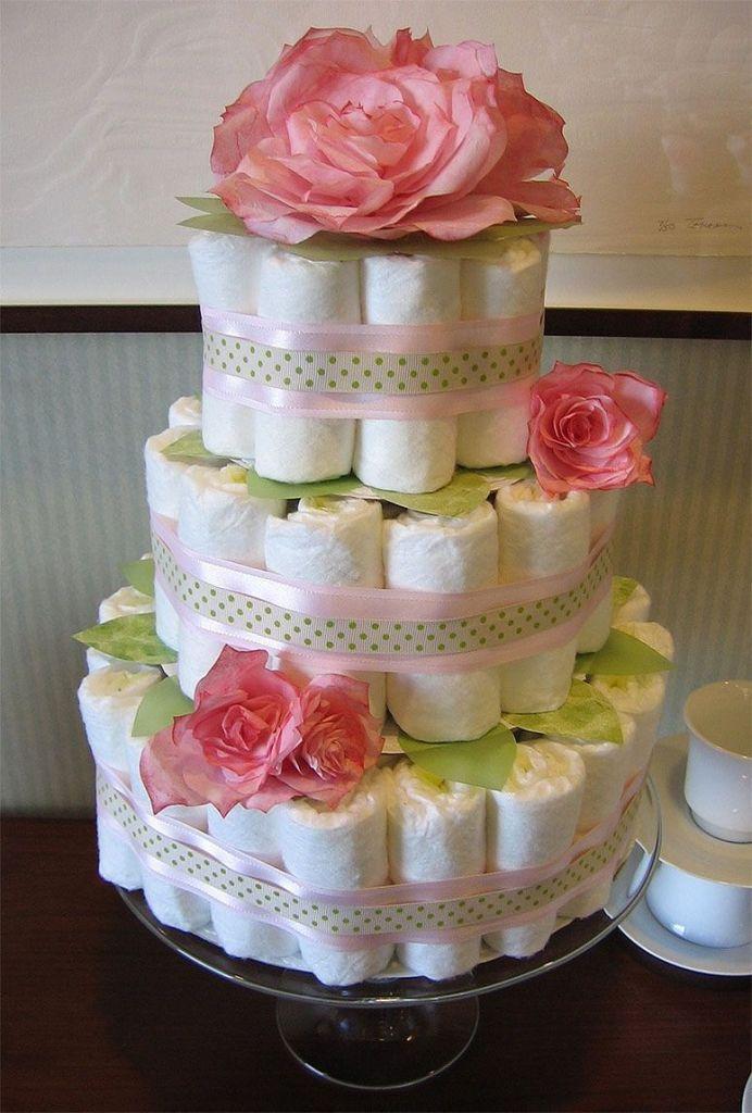 bolo de fraldas com flores