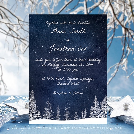 Winter Wedding Invitation Snow Navy Blue Invite Wonderland Night Sky Starry Save The