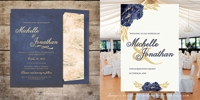 Navy And Gold Wedding Invitation Wele Sign By