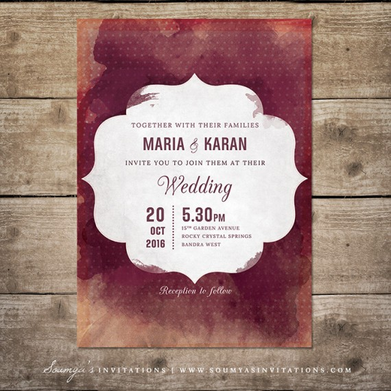 Red And Cream Indian Wedding Invitation Wine Watercolor Burgundy Invite Maroon Bordeaux