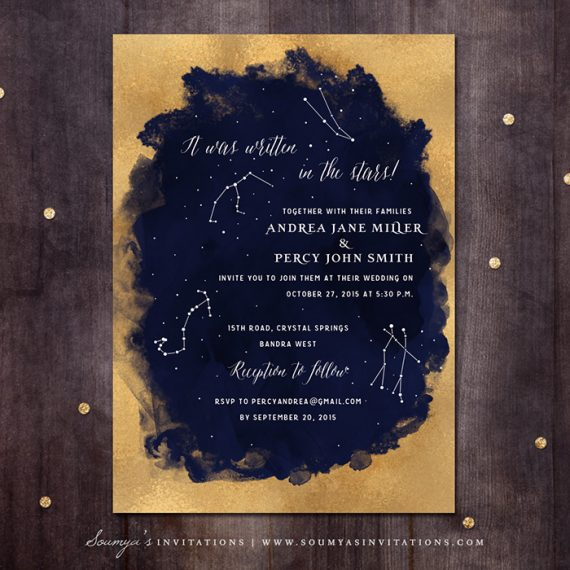 Constellation Wedding Invitation Gold And Navy Starry Night Star Invite Under The Stars