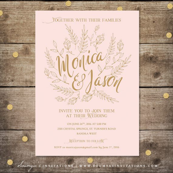 Laser Cut Wedding Invitation Blush Pink Silver Gold Invitations Cards
