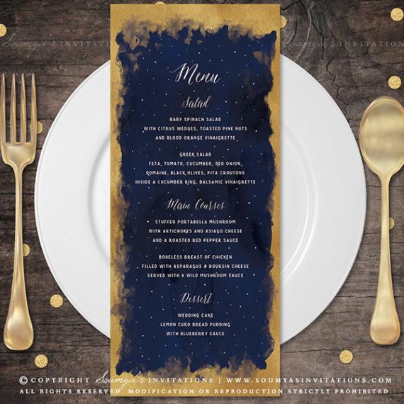 Navy Blue Rustic Wedding Invitations
