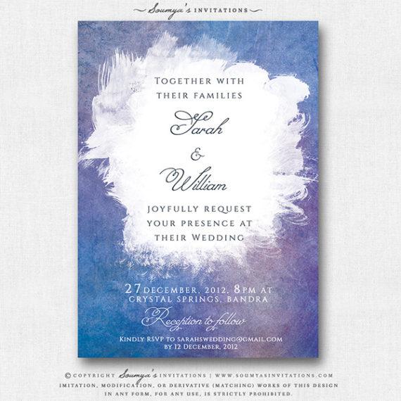 Blue Purple Lilac Wedding Invitation Watercolor
