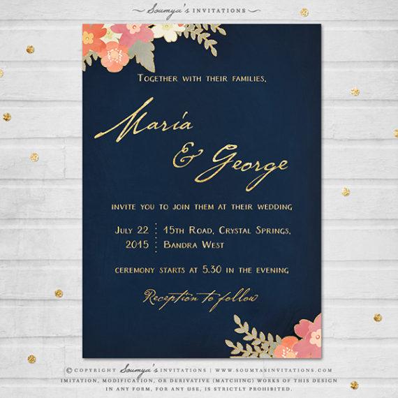 Navy Blue And Gold Wedding Invitation Blush Pink C Peach Rustic Fl Set Spring Summer Garden