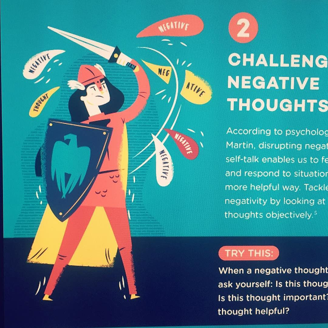Challenge Negative Thoughts Illustration Fighter