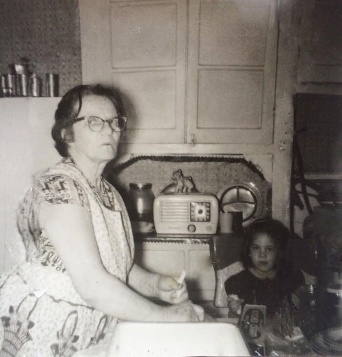 Bonnie (5 years old) baking with Grandma Minnie