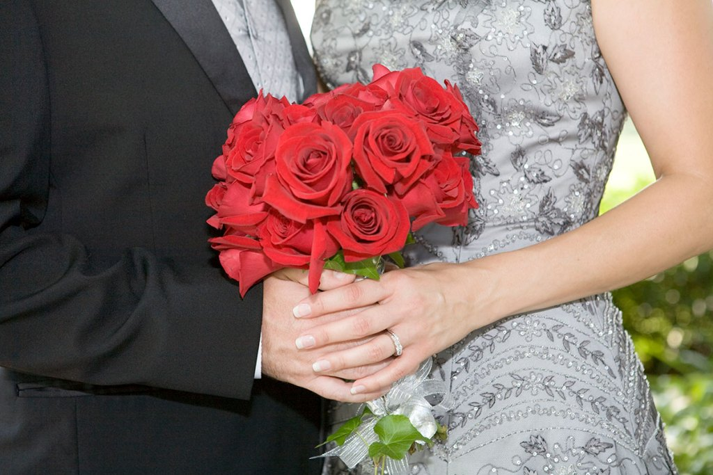 Melissa Dobbins' Wedding with Red Roses