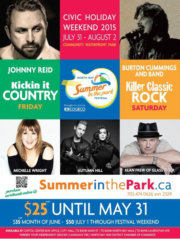 North Bay's Summer in the Park 2015 Lineup