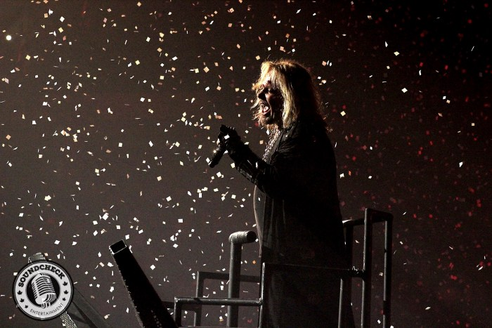 Vince Neil surrounded by ticker tape photo by -Jason Marshall for Sound Check Entertainment