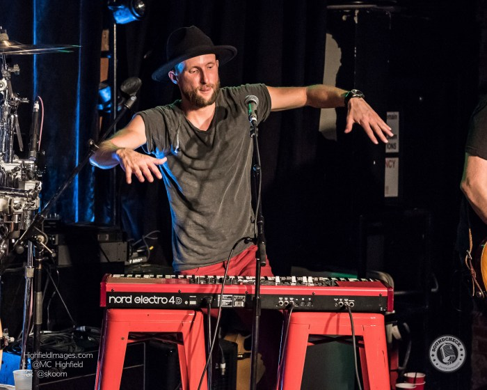 Chris Lane's Keyboardist gettin' funky at Boots & Bourbon Saloon during CMW 2016 - Photo: Mike Highfield