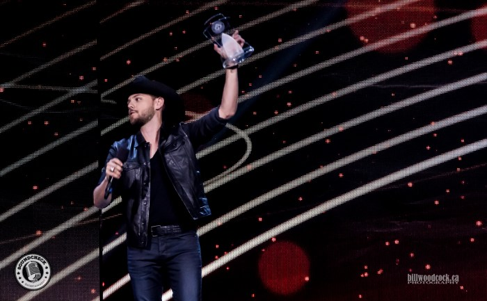 Brett Kissel accepts Male Artist of the Year Award at the 2016 CCMA Awards in London - Photo: Bill Woodcock