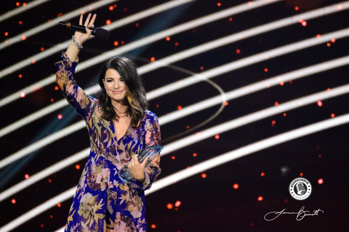 Jess Moskaluke accepts her Female Vocalist of the Year Award during the CCMA Awards in London, ON - Photo: James Bennett