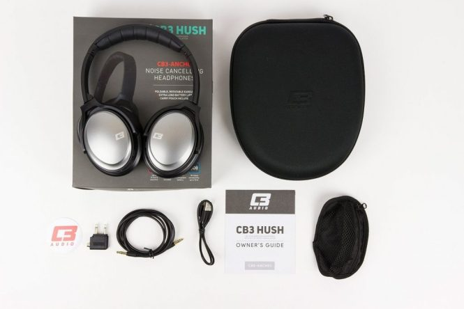 A photo of the CB3 Hush over-ear wireless Bluetooth active noise canceling headphones and its package contents.