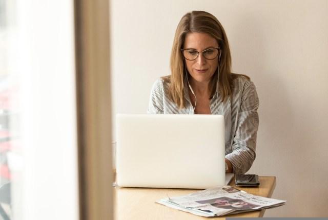 woman, laptop, working