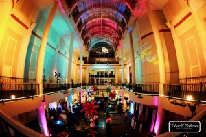 80's prom event lighting and decor at Library Galleria