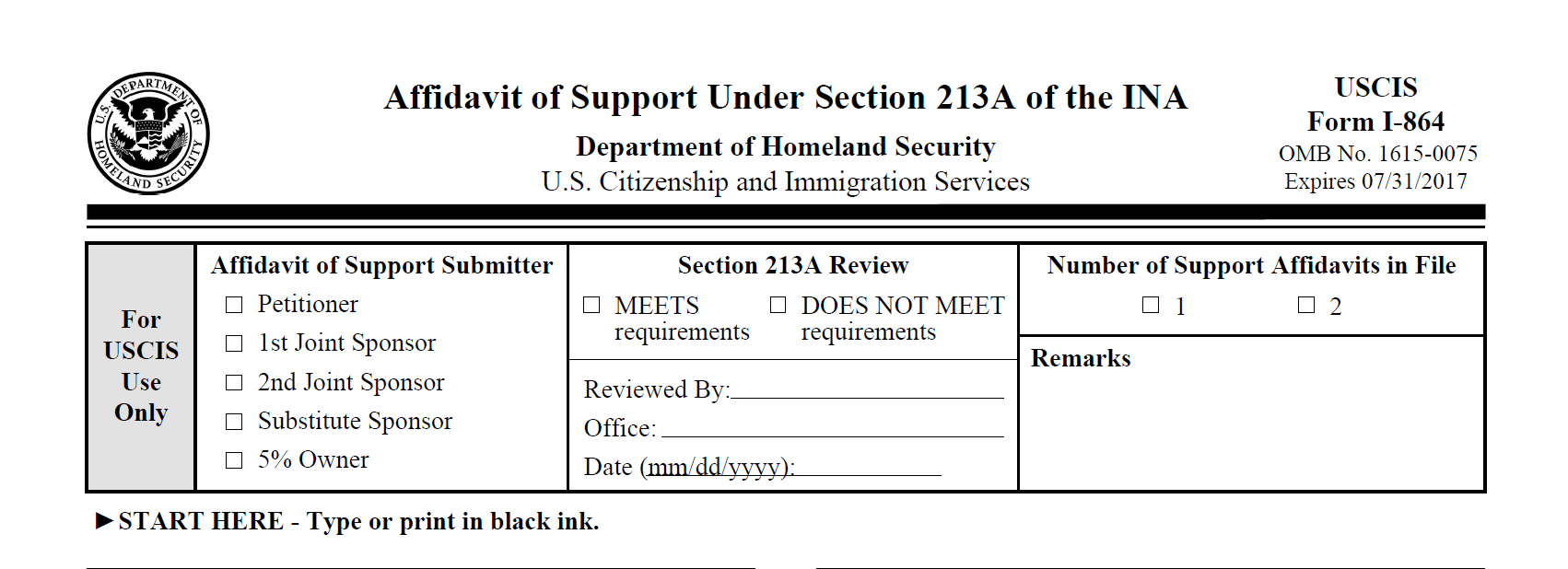 How To Complete The Form I-864