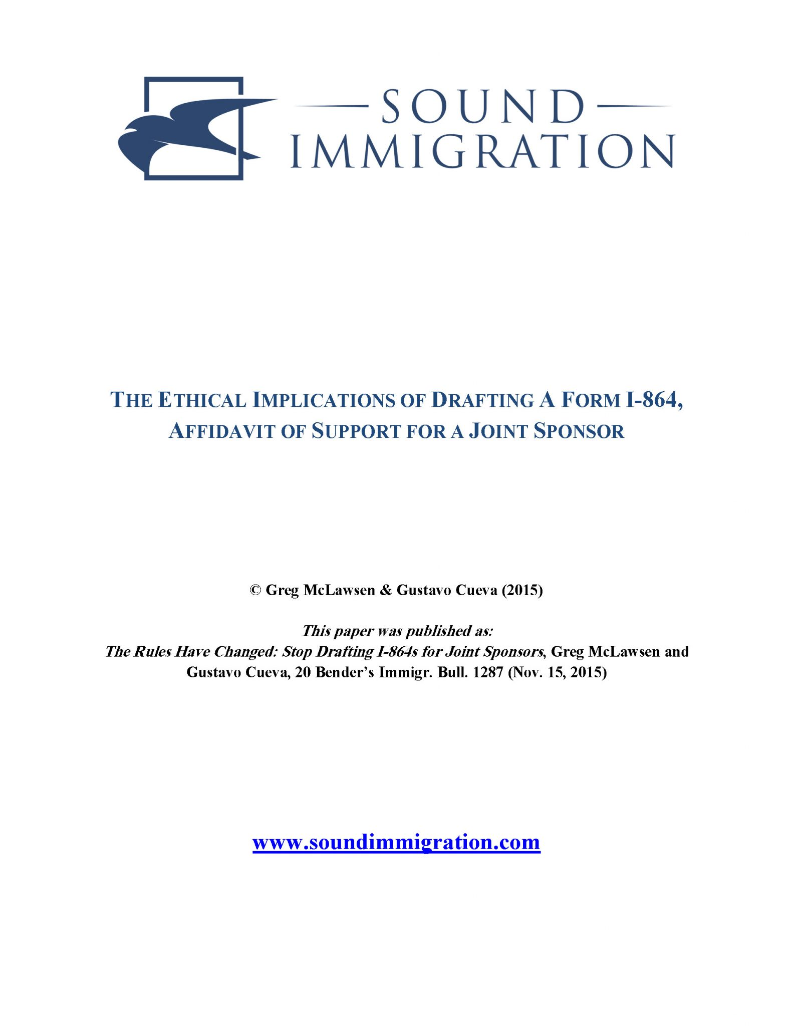 The Ethical Implications Of Drafting A Form I-864, Affidavit Of Support For A Joint Sponsor