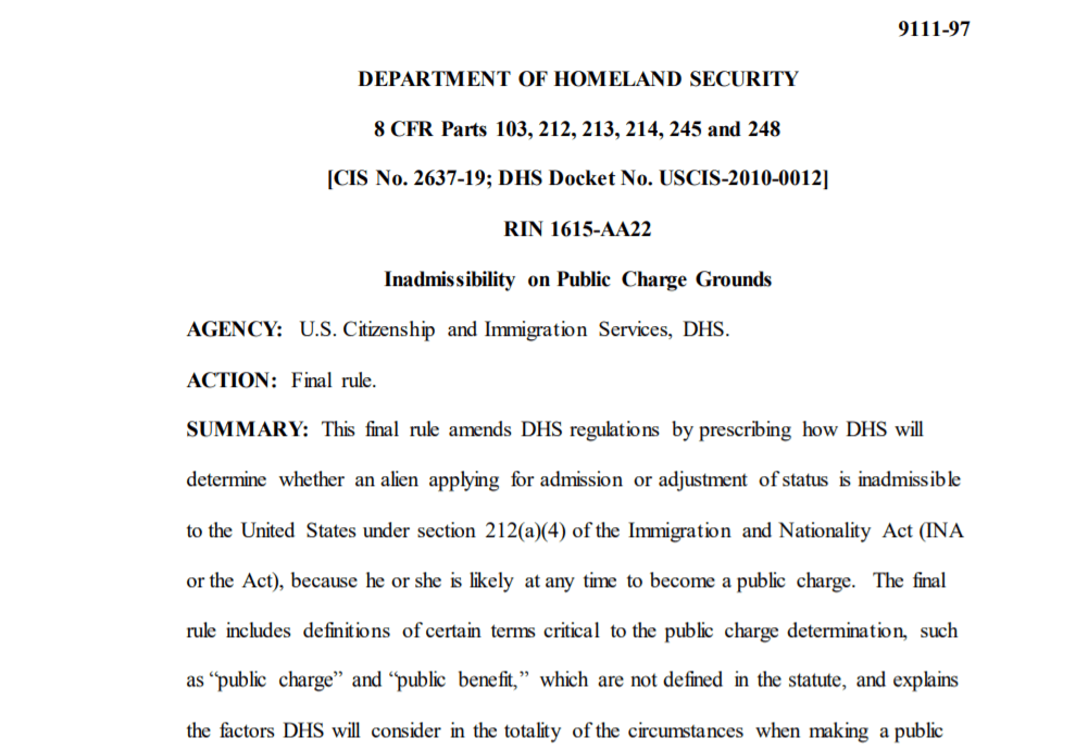 DHS Public Charge Rule – Analysis Of Final Rule
