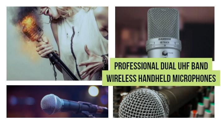 Professional Dual UHF Band Wireless Handheld Microphones