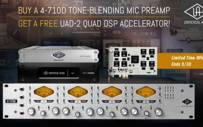 UA Summer Rebate! Buy a 4-710d Mic Preamp, Get a FREE UAD-2 QUAD DSP Accelerator