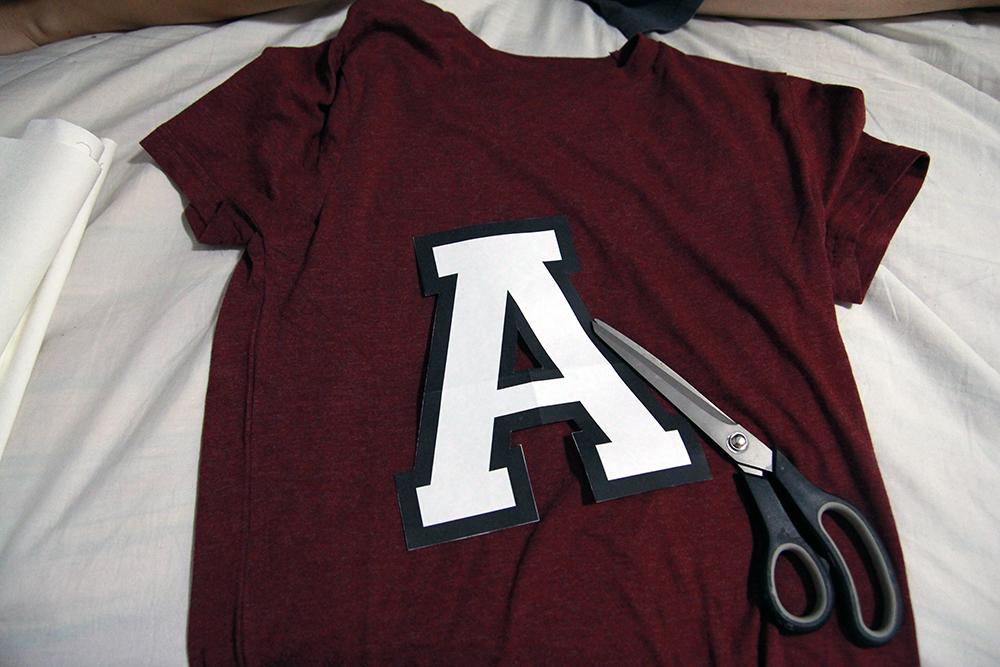 DIY Custom team letter shirts