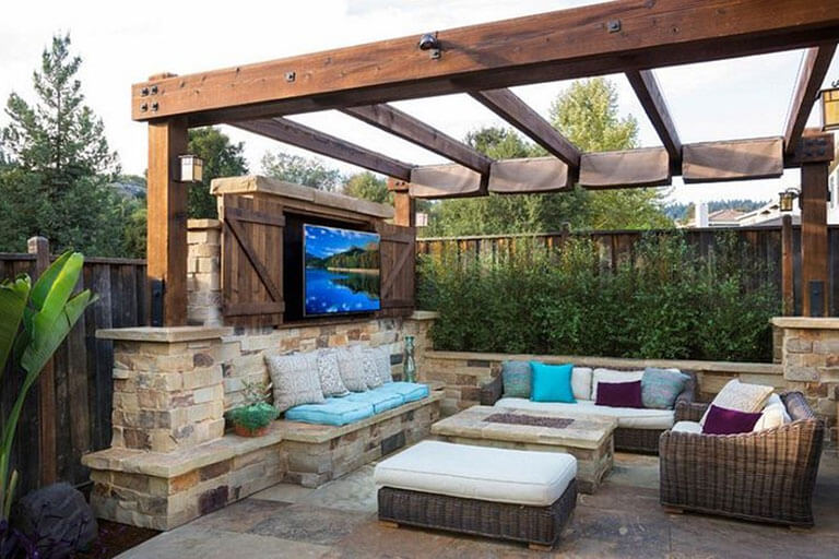 experience outdoor living in a backyard