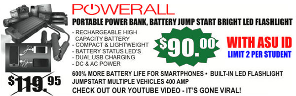 Get the PowerAll Portable Power Bank, Battery Jump Starter and Bright LED Flashlight for only $90 w/ ASU ID. Limit 2 per stud