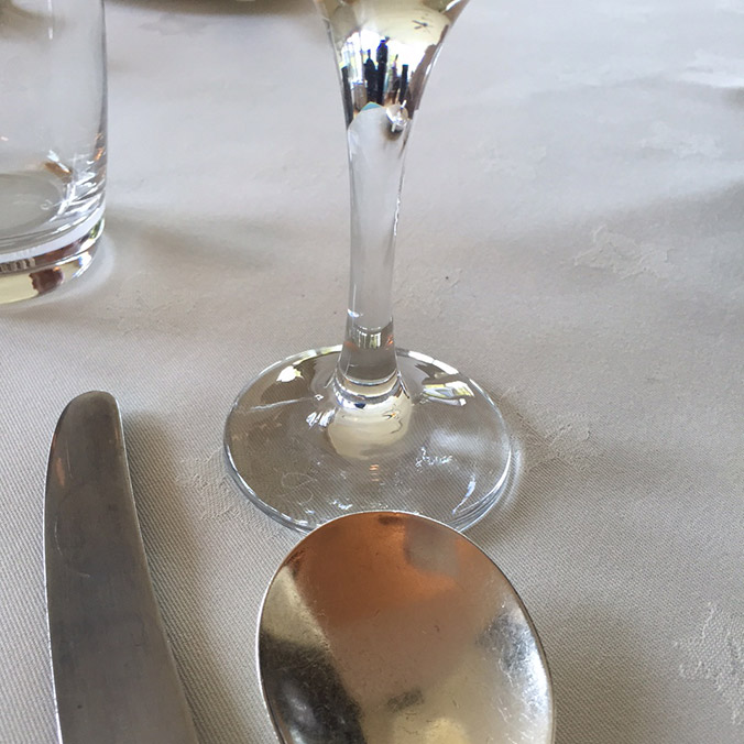 Champagne glass and spoon