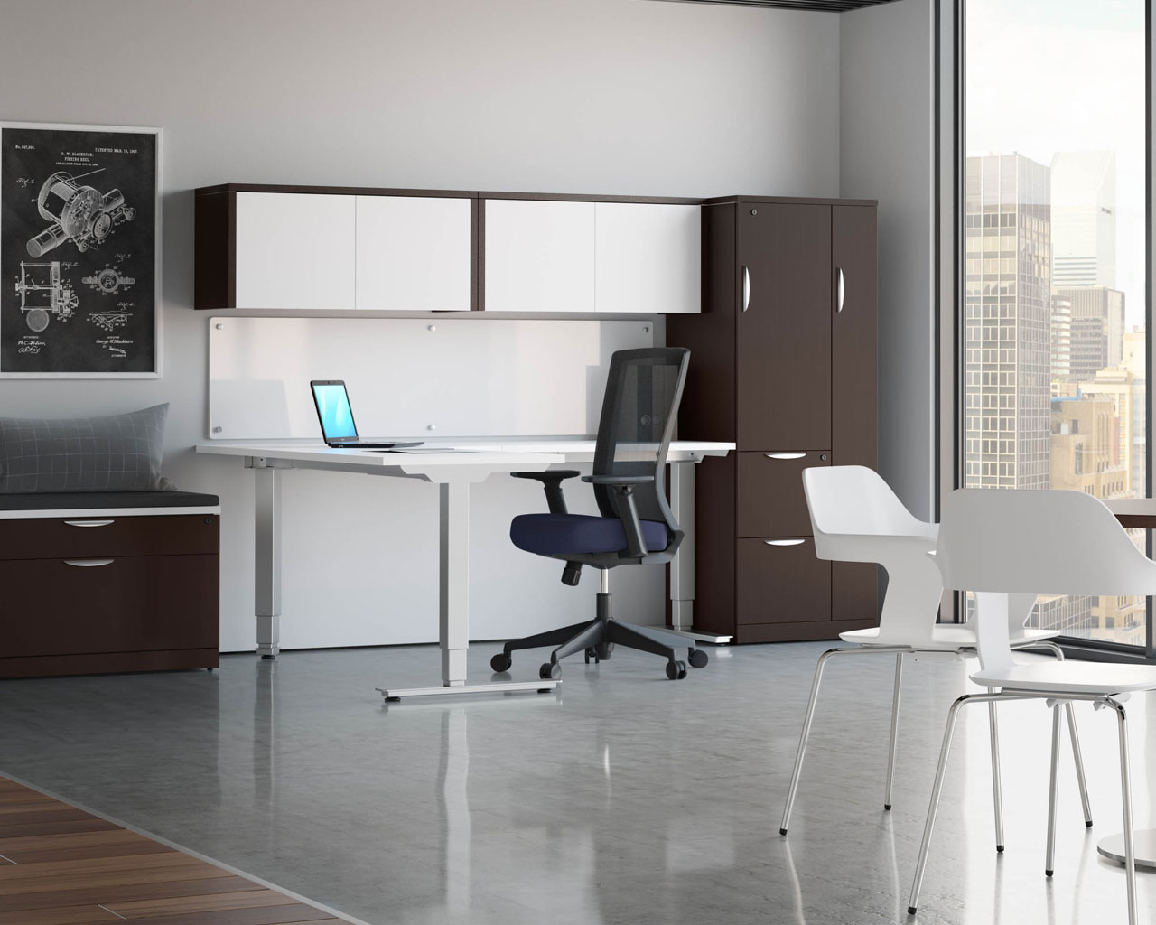 Classic Corner Standing Desk Sit Stand Desk Height Adjustable Table