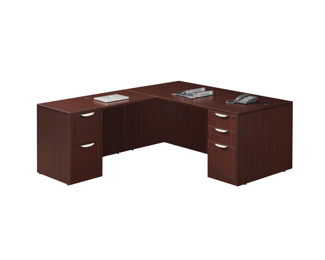 Classic Computer Desk Package With Return And Two Pedestal