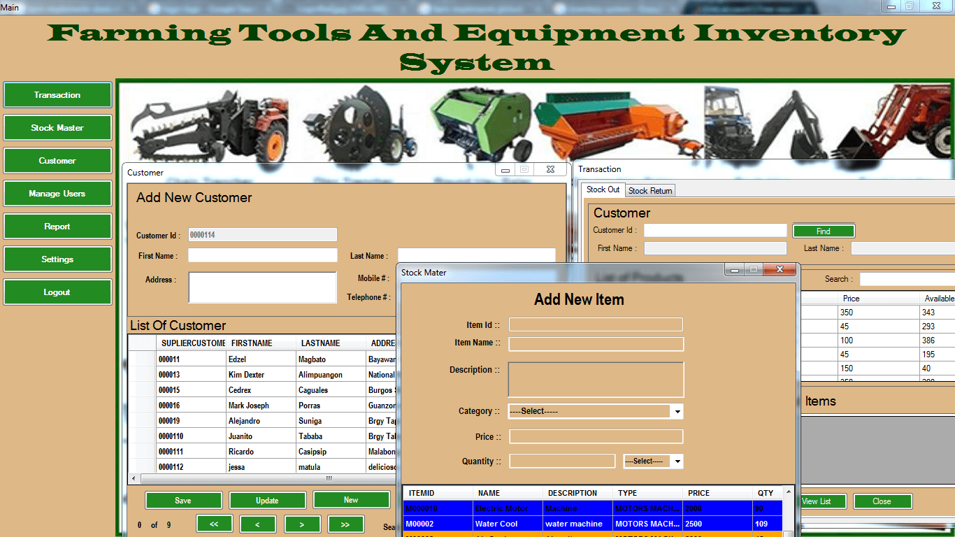 Farming Tools And Equipment Inventory System