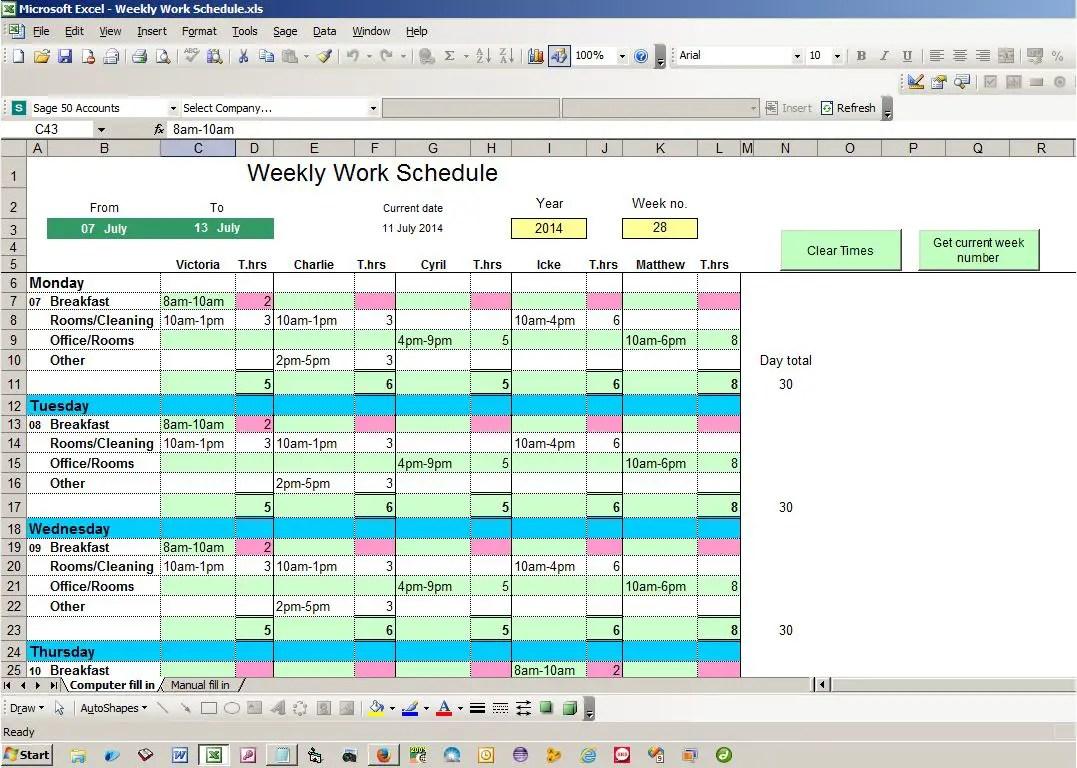 Weekly Work Schedule Excel Spreadsheet