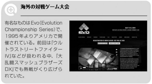 "There's a famous tournament series in America called Evo (Evolution Championship Series) that was started in 1995. Last year, while games such as ""Ultra Street Fighter IV"" were played and featured, intense matches of ""Super Smash Bros. Melee"" unfolded as well."