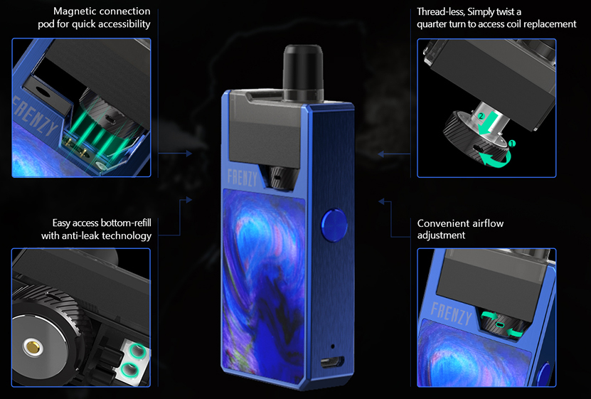 GeekVape Frenzy Pod System Starter Kit Features 1