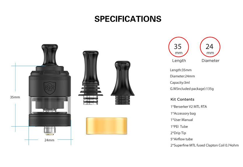 Vandy Vape BSKR V2 MTL RTA Specification