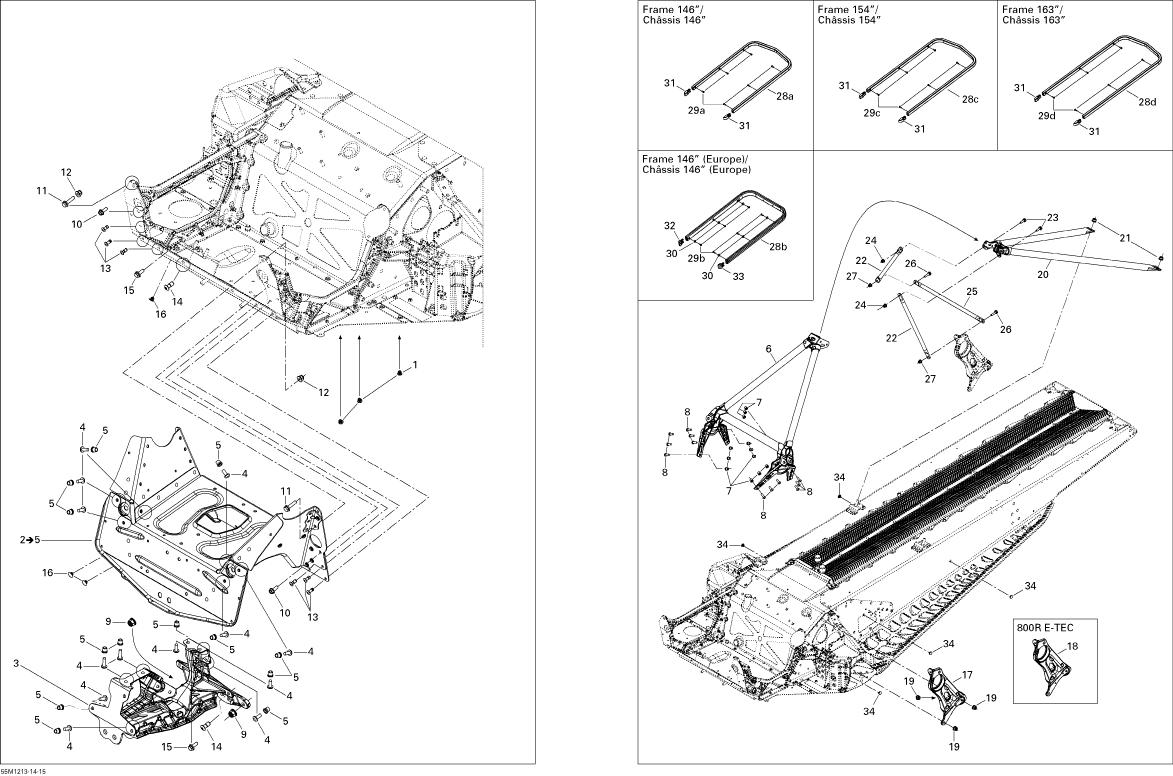 Ski Doo Summit Sp 800r E Tec Frame And Components 800retec Parts
