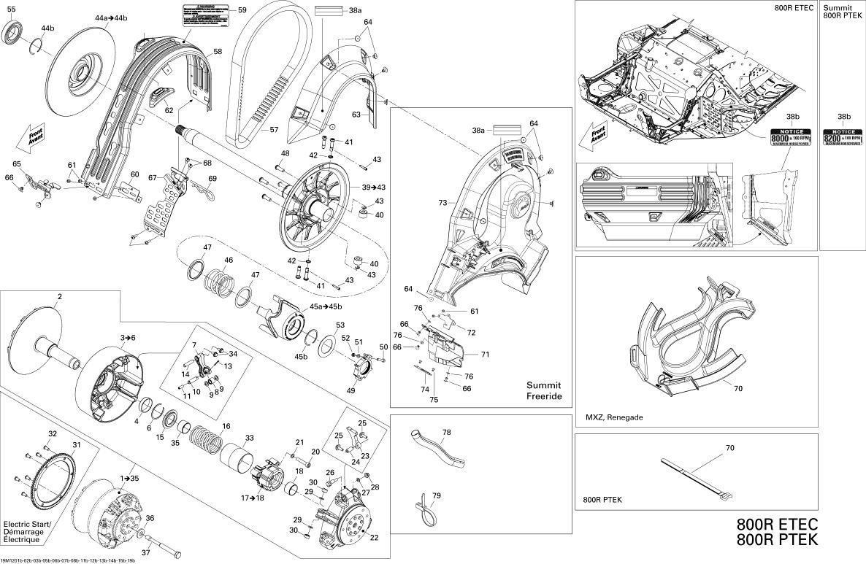 Ski Doo Summit X 800r E Tec Fixed Flange Assembly