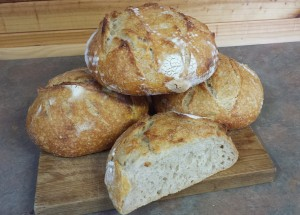 Photo of the final results of baking bread at the Devonport Fly Fishing Club's Lodge.