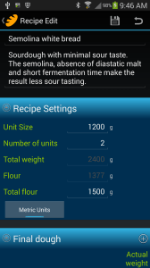 Screen shot of Semolina white bread recipe in BreadBoss app.