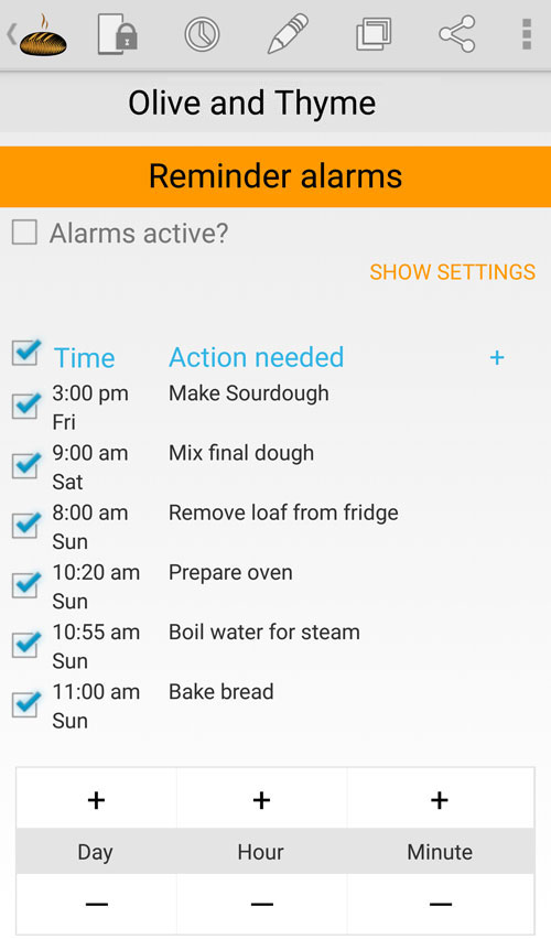 Bread Boss Alarms