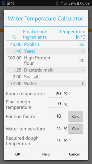 Screen shot from BreadBoss showing the fields for water temperature calculations for the final bread dough
