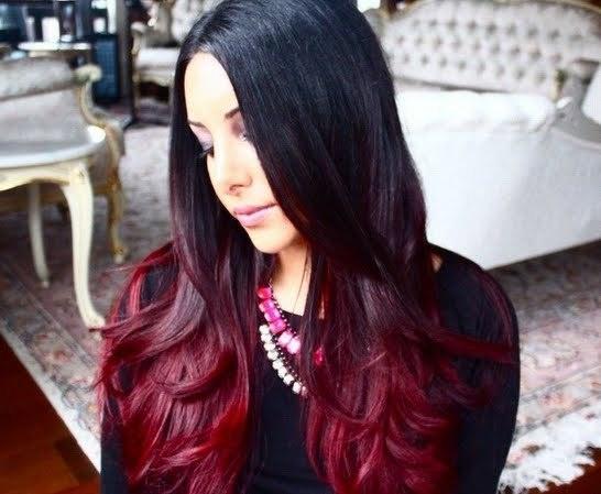 Rote Haarfarbe Ombre Mittellange Haare
