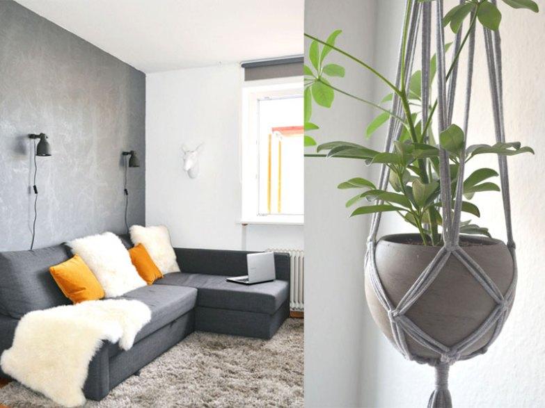 Pretty in grey: unser Wohnzimmer Plus DIY Blumenampel