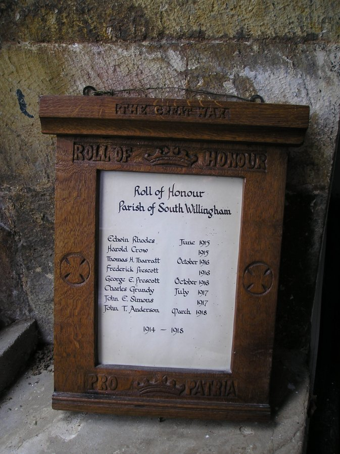 Roll of Honour Parish of South Willingham WW1
