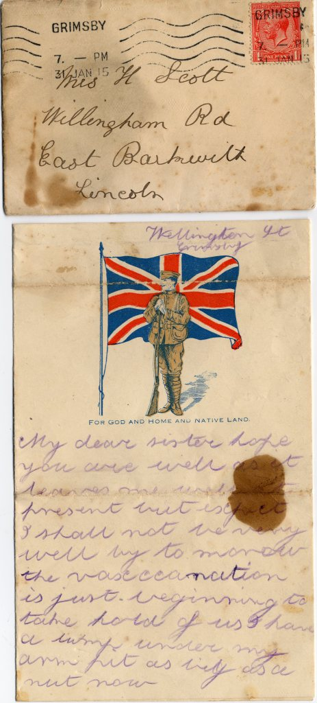 Letter with envelope addressed to Mrs H Scott