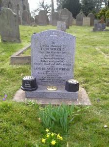 Headstone reference G30 Plan 4 - Wright, Don & Wright, Jane Elizabeth