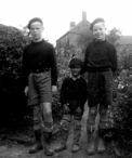 Photograph taken in 1952 showing L-R John Lawler, David Jobson and Peter Lawler. The house shown in the background is Pump Hill Cottage