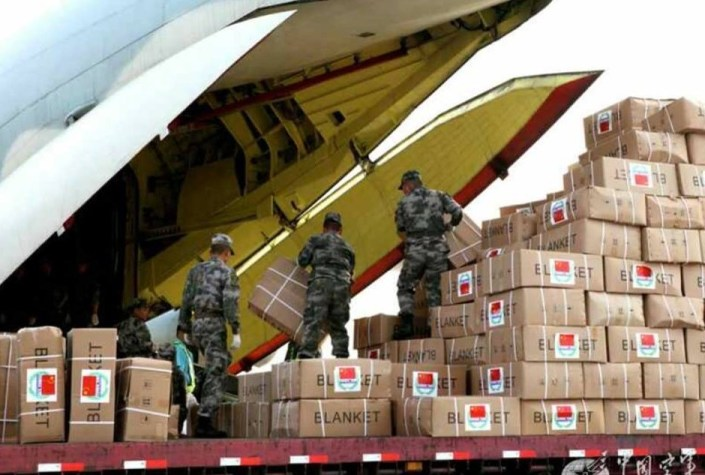 Members of the People's Liberation Army working on the humanitarian relief operations to Nepal.